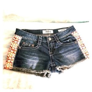 DayTrip Capricorn Distressed Shorts With Print